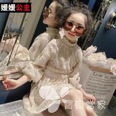 童裝2018春裝新款女童春季連身裙女孩長袖裙子中大童洋氣公主裙