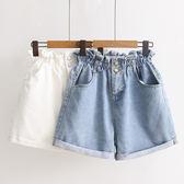 日系高腰闊腿牛仔短褲中大童寬鬆顯瘦休閒褲