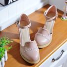 百姓館 甜美包頭涼鞋女春秋韓版圓頭高跟鞋粗跟仙女風女鞋子