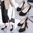 高跟鞋 新款高跟鞋女黑色細跟職業鞋舒適絨面小皮鞋百搭酒店面試工作鞋子