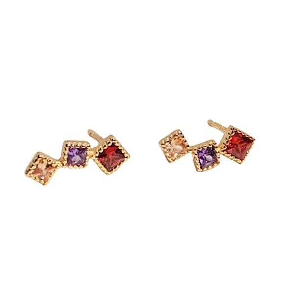 925純銀 紅紫黃三色彩色 公主方鑽 耳環耳針釘-金 防抗過敏