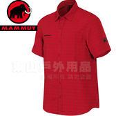 Mammut長毛象 1030-01830-3377熔岩紅/草綠 男立體排汗短袖襯衫Lenni Shirt