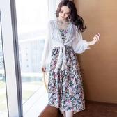 [兩件套]波西米亞風洋裝(碎花吊帶裙+白色罩衫)兩件式洋裝[98989-QF]美之札--度假式洋裝