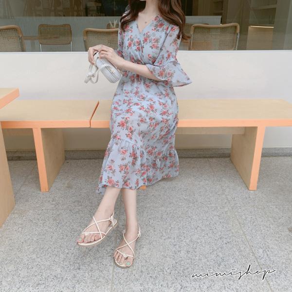 孕婦裝 MIMI別走【P521106】輕甜玫瑰 花兒雪紡彈力高腰連身裙 孕婦洋裝