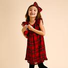 洋裝 I Love Gorgeous 格紋荷葉袖滾邊洋裝-紅色 AW14FC22RD