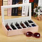 創意皮革透明眼鏡收納盒多格 木質簡約墨鏡太陽鏡整理盒便攜旅行 美芭