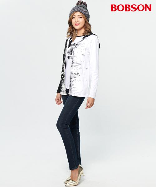 BOBSON 女款黑白對稱連帽外套(37097-88)