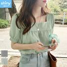 【V3379】shiny藍格子-清新氛圍.小格紋方領短袖上衣