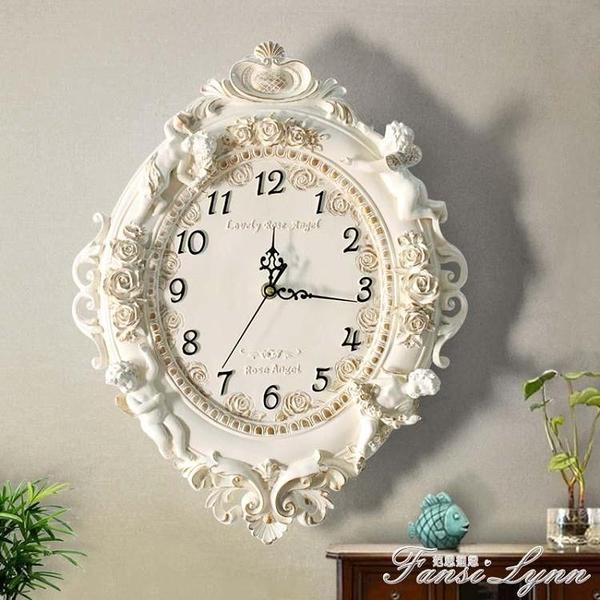歐式客廳創意時尚藝術裝飾掛鐘靜音臥室時鐘大掛鐘錶天使石英鐘錶 中秋節全館免運