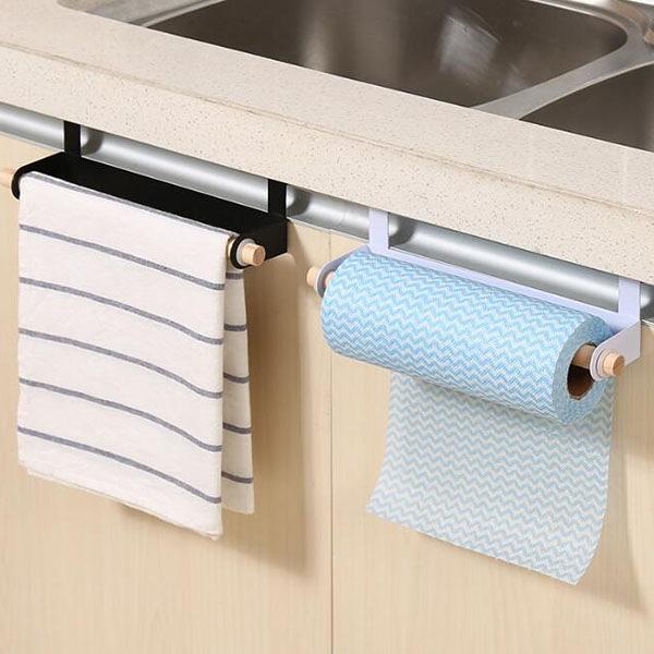 【BlueCat】廚房抹布紙巾木頭桿門背掛式鐵架