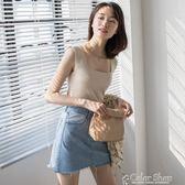 EGGKA 純色無袖針織吊帶背心女外穿短款修身顯瘦上衣內搭打底衫春color shop