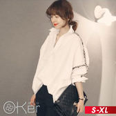 中長版寬鬆蝙蝠袖休閒襯衫 S-XL O-ker歐珂兒 161525