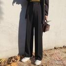 闊腿褲女褲子垂感寬松高腰顯瘦墜感西裝煙管直筒休閒長褲【少女顏究院】