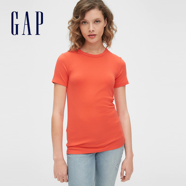 Gap女裝時尚純色圓領短袖T恤241902-珊瑚紅橙