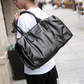 新款男士旅行包商務休閒軟皮男包大容量單肩手提包斜跨包潮流 雲雨尚品