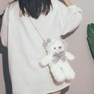 玩偶包 卡通可愛小熊包包女2021新款潮毛絨玩偶鍊條包韓國INS側背斜背包