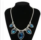 歐美誇張瑞麗時尚複古 古銀水滴寶石鑲嵌 複古鎖骨項鏈飾品批發