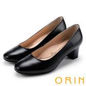 ORIN 釋放久站上班族的壓迫感 柔軟羊皮粗中跟鞋-黑色