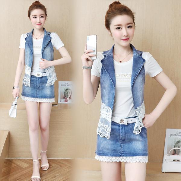VK旗艦店 韓國風修身顯瘦牛仔馬甲時髦套裙三件套裝短袖裙裝
