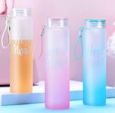 七彩杯韓版水杯耐熱大容量便攜磨砂玻璃杯款式隨機出貨【Miss.Sugar】【D900060】