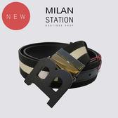 【台中米蘭站】全新品 BALLY 黑白織帶黑B頭皮帶(黑)