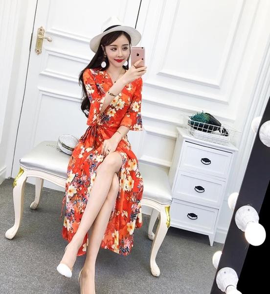 2018秋裝新款淑女氣質V領五分袖綁帶收腰顯瘦印花碎花長裙洋裝