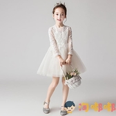 花童禮服女童公主裙洋裝蓬蓬紗兒童婚紗模特主持人演出服【淘嘟嘟】