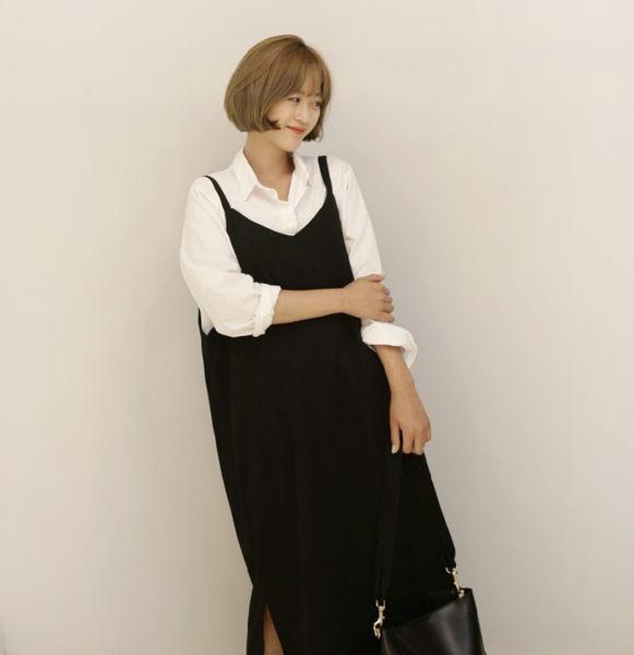 背心裙吊帶裙 簡約純色兩側開叉吊帶連身裙 艾爾莎【TGK4542】