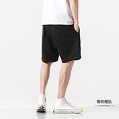 短褲男夏季純棉薄款五分褲男寬鬆沙灘褲男休閒褲子男【聚物優品】