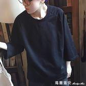 七分袖T恤 夏季寬鬆男T恤潮青年七分蝙蝠袖短袖體恤純色簡約半中袖打底衫薄 全網最低價最後兩天