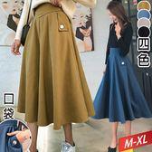鑲銀釦口袋長裙(4色)M~XL【901027W】【現+預】☆流行前線☆