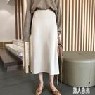 秋裝韓版女裝寬鬆百搭針織半身裙高腰顯瘦包臀裙打底中長裙CM462【麗人雅苑】