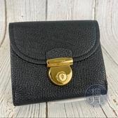 BRAND楓月 SALVATORE FERRAGAMO 黑色 皮革 金色金屬 壓釦 短夾 中夾 錢包 錢夾