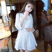 (全館一件免運)DE SHOP~襯杉式翻領收腰顯瘦白色洋裝 (HL-826)