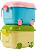 玩具收納箱大號兒童塑料整理箱滑輪有蓋卡通后備箱儲物箱XW
