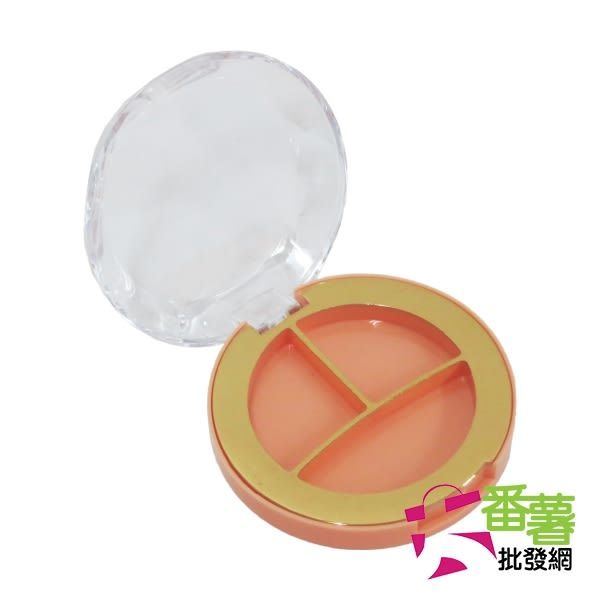 透明三格掀蓋盒/眼影口紅分裝盒 [13D1]-大番薯批發網