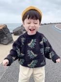 兒童毛衣 寶寶冬裝恐龍秋冬款兒童加厚洋氣2019新款韓版男童毛衣套頭水貂絨【星時代女王】