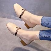 鞋子女2019春季新款百搭韓版學生豆豆鞋網紅中跟單鞋女淺口奶奶鞋 嬌糖小屋