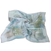 Christian Dior 城市與熱氣球絹紗絲巾(淺藍色) 179020-2