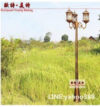 室外歐式防水庭院路燈 花園別墅街道景觀草坪燈具 三頭 高2.25M