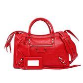 【BALENCIAGA】背帶塗鴉小銀釦CLASSIC CITY S(紅色) 431621 DB5XN 6460