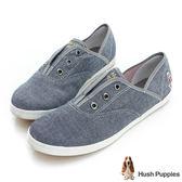 Hush Puppies 經典丹寧咖啡紗懶人帆布鞋-灰藍