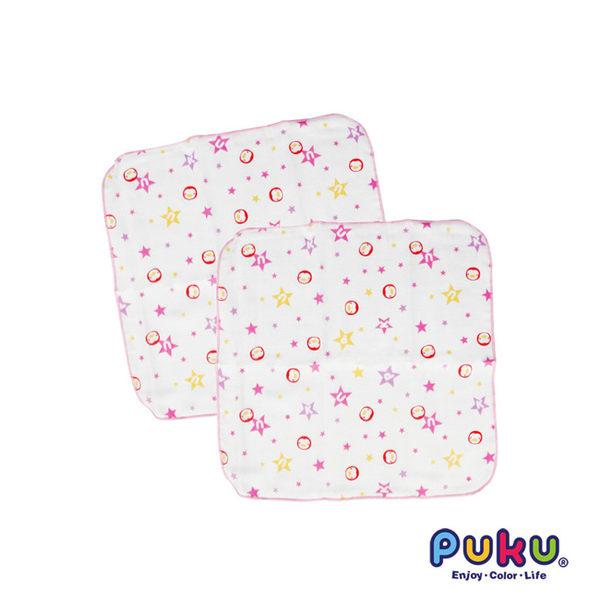 【奇買親子購物網】PUKU 印花紗布手帕(2入) (藍色/粉色)