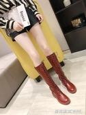 馬丁靴女秋冬新款高筒騎士靴膝上靴女粗跟長筒網紅瘦瘦靴子ATF  英賽爾