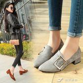 季新款韓版粗跟尖頭中口搭扣單鞋中跟絨面高跟鞋工作鞋女 樂芙美鞋