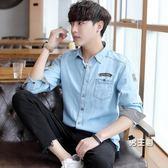(萬聖節鉅惠)牛仔襯衫男夏季長袖薄款正韓學生短袖襯衫青少年帥氣修身潮流寸衫