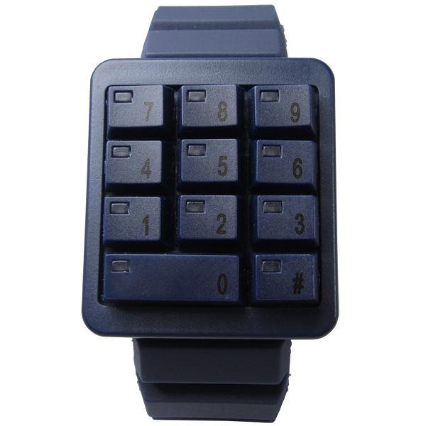 CLICK 創意爆破數字鍵盤個性腕錶(藍)