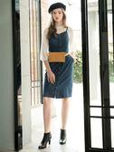 秋冬8折[H2O]修身顯瘦彈性牛仔吊帶中長版洋裝 - 藍色 #8654001