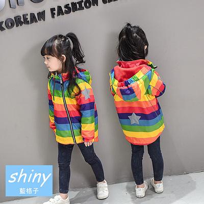 【R0190】shiny藍格子-嬰幼館.秋冬款女童加厚加絨條紋連帽外套