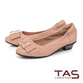 TAS 蝴蝶結飾扣素面羊皮娃娃鞋 膚